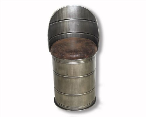 80cm Iron Oil Barrel Storage Stool With Faux Leather Lid